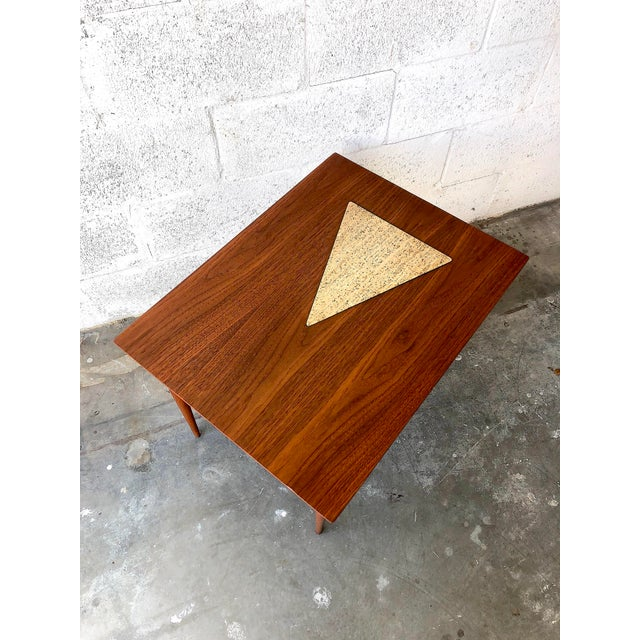 1960s Vintage Mid Century Modern End Table With Travertine Inlay. For Sale - Image 5 of 10