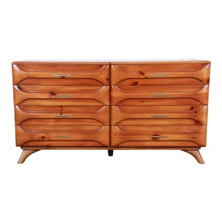 Franklin Shockey Rustic Modern Sculptured Pine Double Dresser or Credenza, 1950s For Sale