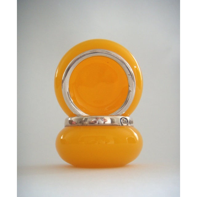 Stunning and very rare pair of vintage English sunflower yellow glass salt cellars or cruets with hallmarked solid silver...