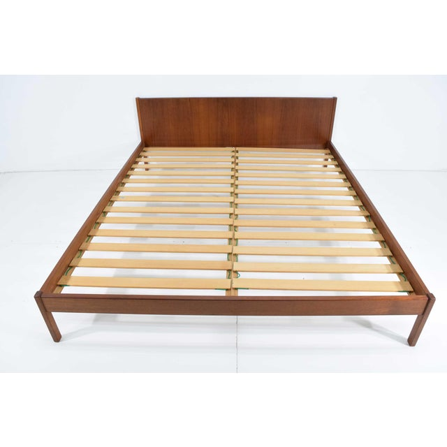 "Danish Modern Teak Oversized Queen Bed Frame, 69.5"" Wide For Sale - Image 4 of 10"