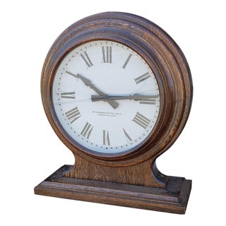 Fantastic 1920s the Standard Electric Time Co. Oak Case Double Face School ~ Train Station Clock For Sale