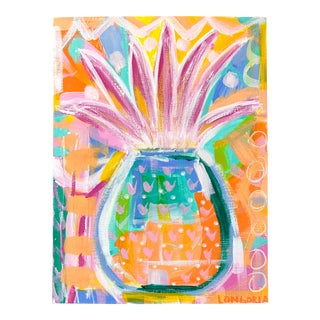 """Pineapple #4"" Abstract Painting by Christina Longoria For Sale"