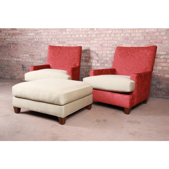 Contemporary Baker Furniture Contemporary Oversized Down-Filled Lounge Chairs and Ottoman For Sale - Image 3 of 13