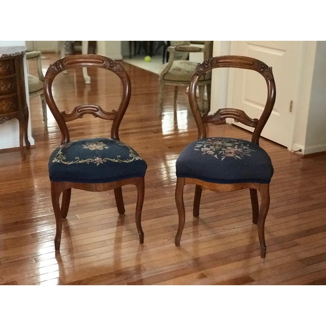 1900s Vintage Carved Mahogany Balloon Back Chairs- A Pair For Sale - Image 10 of 10