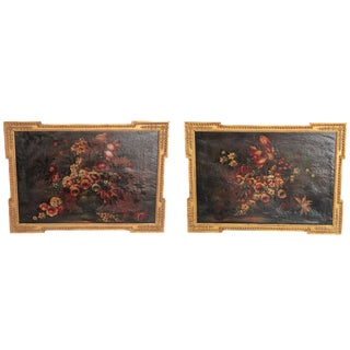 Pair of Framed Floral Still-Life Paintings / 19th Century Continental For Sale