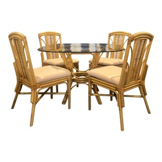1980s Hollywood Regency Rattan Pal Beach Mid Century Dining Set Kindel Style - 5 Pieces For Sale
