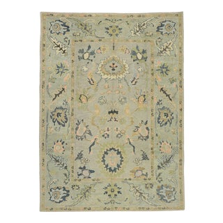 Contemporary Turkish Oushak Rug With Modern Style - 09'03 X 12'09 For Sale
