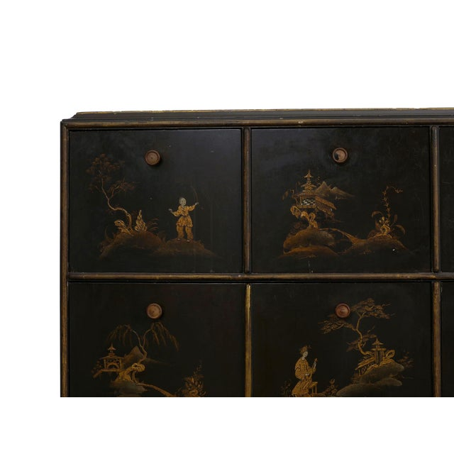 Black Art Deco Chinoiserie Mirrored Top Chest of Drawers Dresser Circa 1940s For Sale - Image 8 of 13