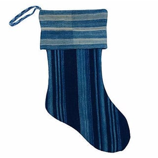 African Indigo Christmas Stocking For Sale