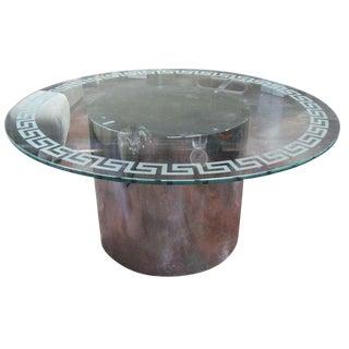 Milo Baughman Style Greek Key Motif Glass Dining Table For Sale