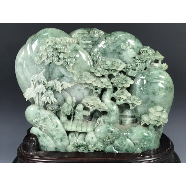 Chinese Art Carved Green Jade Mountain With People - Image 6 of 11