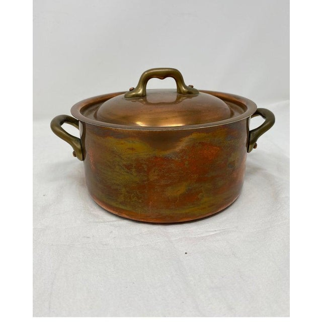French Small Copper Pot With Brass Handles and Lid For Sale - Image 3 of 13