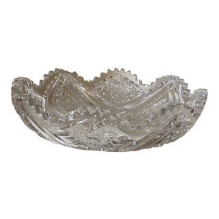 1950s American Brilliant Cut Crystal Centerpiece Bowl For Sale