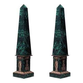 19th Century French Empire Style Malachite Veneered Obelisks - a Pair For Sale