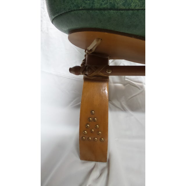 Boho Chic Vintage Camel Saddle Stool with Teal Cushion For Sale - Image 3 of 11