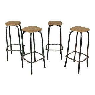 1950s Industrial French Bar Stools - Set of 4 For Sale