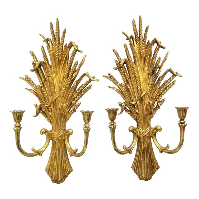 1971 Rococo Gold Flourish Sconces - a Pair - Image 1 of 8
