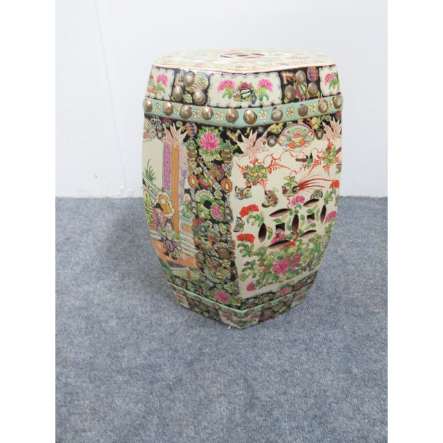Asian Rose Medallion Garden Stool For Sale - Image 3 of 5