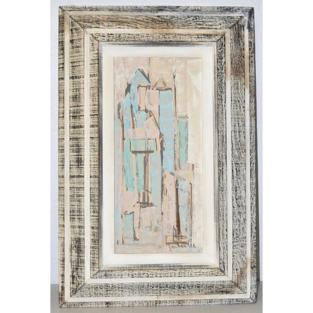 Matching Pair of Parker Lee Mid Century Modern Abstract Gouache c.1950s With subtle color and texture, these fantastic mid...