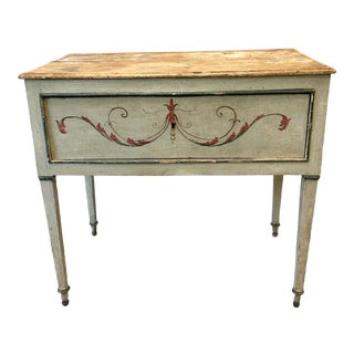 Italian Antique Painted Console Table With Drawer - 18th C For Sale