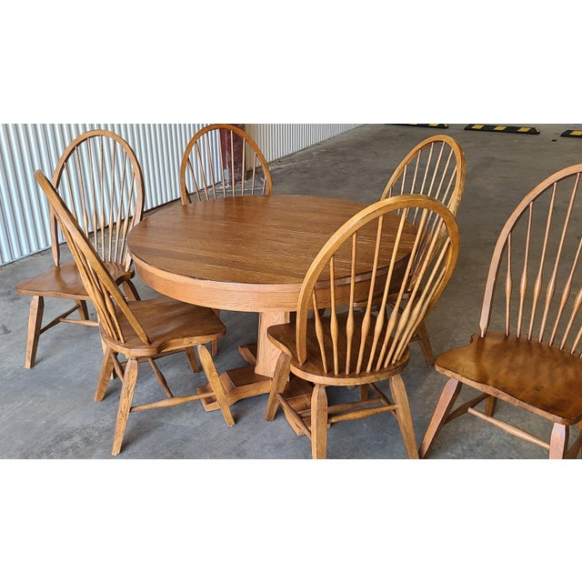 Broyhill Furniture Attic Heirlooms Dining Kitchen Set ~ Solid Oak Table W/ 6 Windsor Side Chairs For Sale - Image 9 of 13