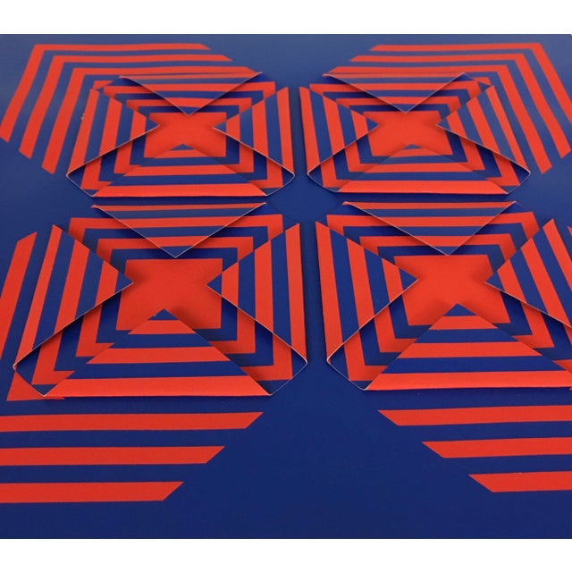 """1971 Vintage """"New Perspective"""" Geometric Op Art Serigraph Collage by Anne Youkeles For Sale - Image 10 of 13"""