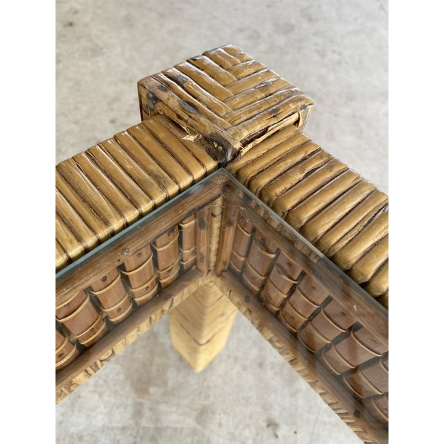 Billy Baldwin Vintage Wicker Wrapped Bamboo Insert Side Tables - a Pair For Sale - Image 4 of 13