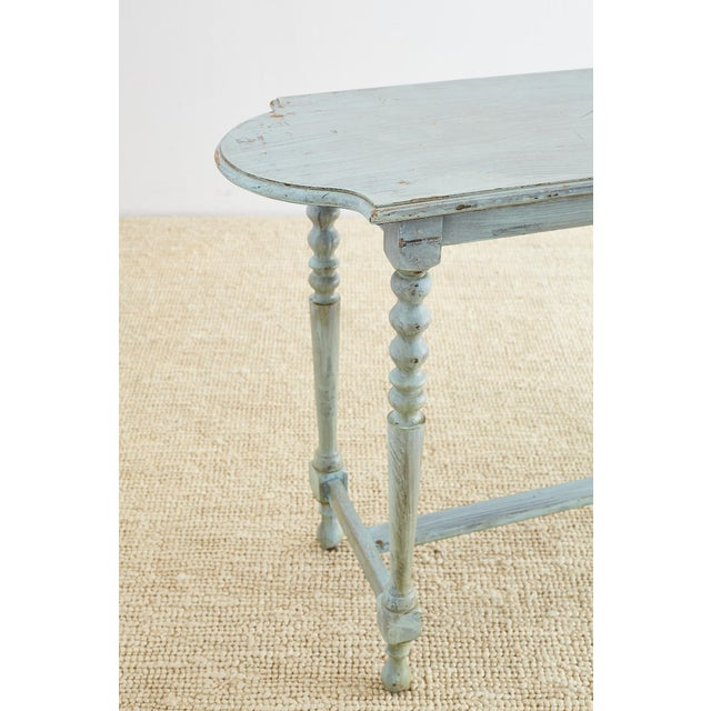 Robin's Egg Blue Painted Console Sofa Table For Sale - Image 10 of 13