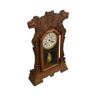 New Haven Antique Lion Carved Oak Gingerbread Kitchen Clock For Sale
