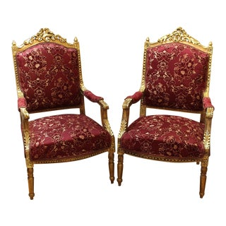 French Classical Style Designer Gilt Wood Arm Chairs - a Pair For Sale