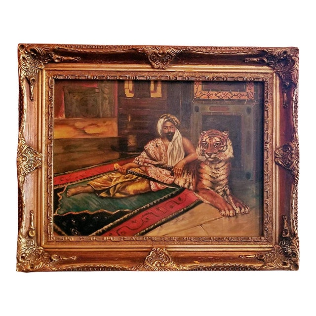 19c Oil on Canvas of Raj or Prince with Tiger For Sale