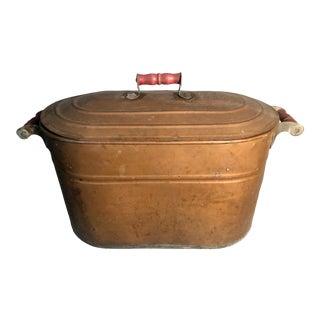 Antique 1930s Revere Copper Boiler Wash Tub Firewood Holder W/Lid For Sale