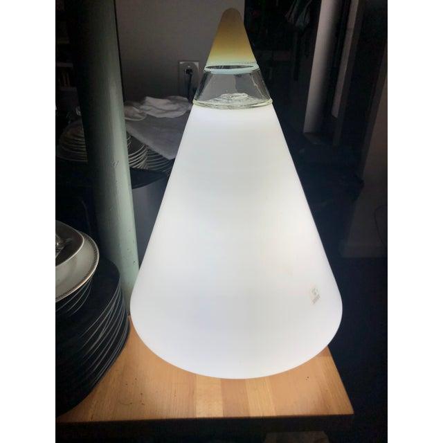 Monumental MID CENTURY MURANO VETRI CONE GLASS LAMP: Murano Vetri blown milk glass lamp with attached clear glass chamber...