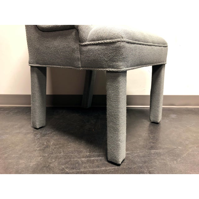 High-End Grey Channel Back Parsons Chairs - Pair 3 For Sale - Image 10 of 12
