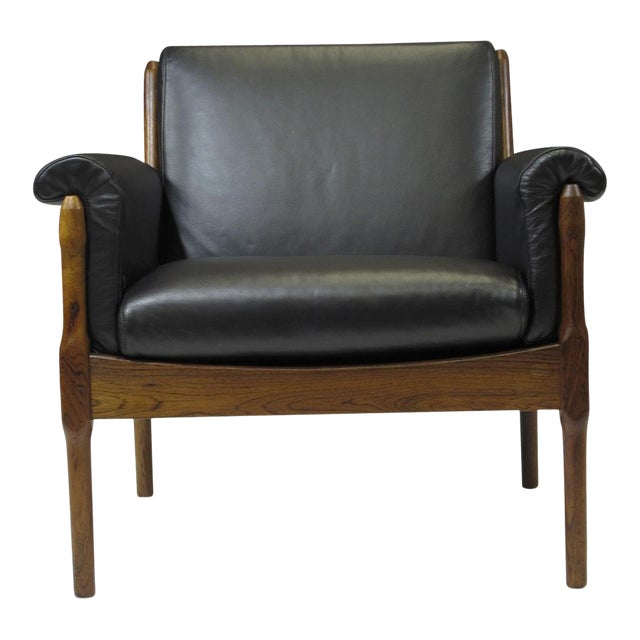 Midcentury Brazilian rosewood lounge chairs designed by Torbjorn Afdal for Bruksbo Norway. Chairs are crafted of solid...