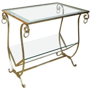 1990s Traditional Gilt Metal Magazine Rack Side Table