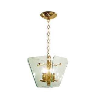 Italian Brass Lantern Style Ceiling Fixture With Etched Light Green Glass Shades For Sale