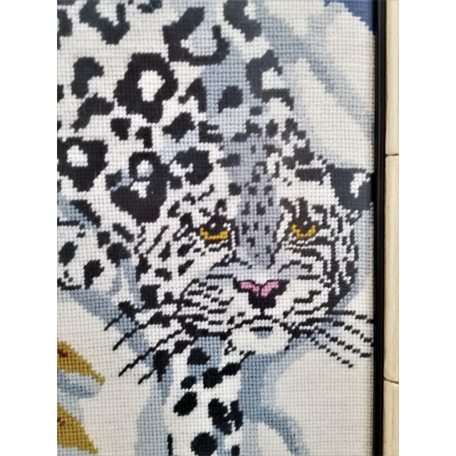 Vintage Chinese Snow Leopard Needlepoint With Faux Bamboo Frame -Signed 1976 - Asian Mid Century Modern Palm Beach Chic Animal Cheetah Tiger For Sale In Miami - Image 6 of 12