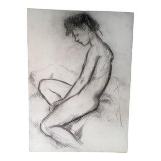 Seated Nude Figure Study Drawing For Sale