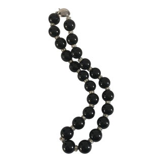 1990's Handmade With Onyx and Sterling Beaded Elegant Necklace For Sale