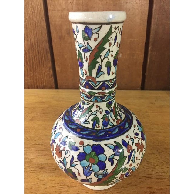 Middle Eastern Hand-Painted Glazed Pottery For Sale - Image 6 of 11