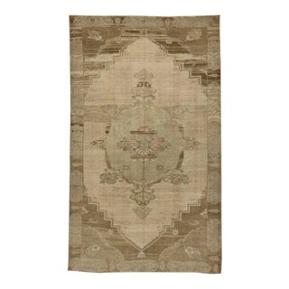 Vintage Turkish Oushak Rug with Muted Colors and Modern Style