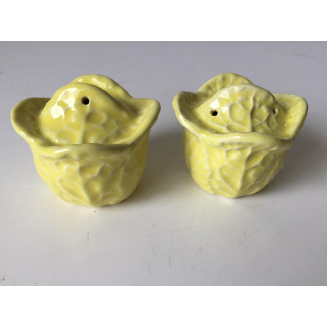 Yellow 4 Majolica Cabbage Leaf S & P Shakers For Sale - Image 8 of 10