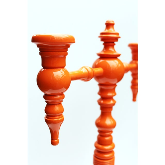 "Dunes and Duchess ""Classique"" Candelabra in Orange - Image 3 of 8"