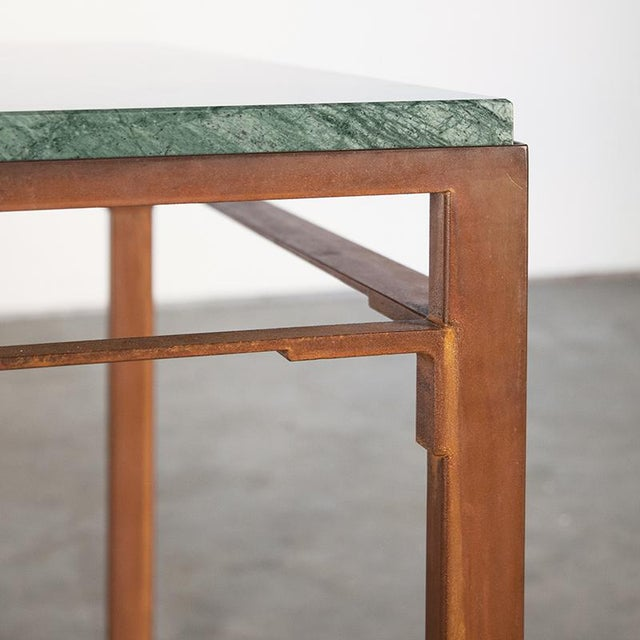 Kin & Company Contemporary Oxidized Steel and Emerald Green Marble Top Squares Table For Sale - Image 4 of 6