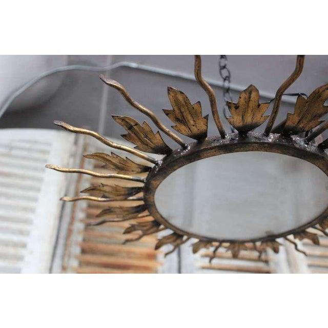 Spanish Gilt Metal Sunburst Flush Mount Ceiling Fixture - Image 4 of 8