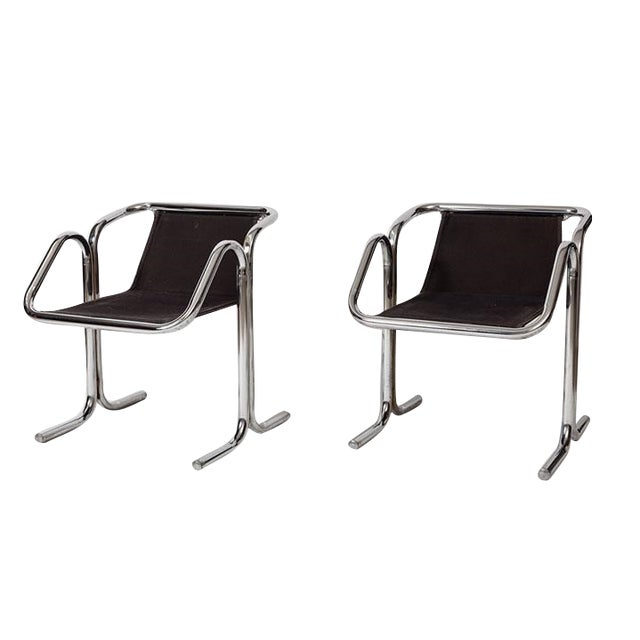 Jerry Johnson Tubular Chrome Dining Chairs - Set of 8 For Sale