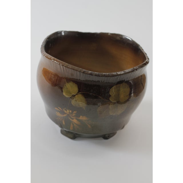 Vintage Brown Ceramic Footed Planter Cachepot Jardiniere With Leaves and Flowers - Image 11 of 11