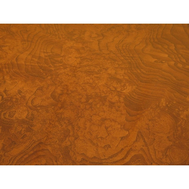 Burl Walnut Round Dining Room Extension Table For Sale - Image 11 of 13