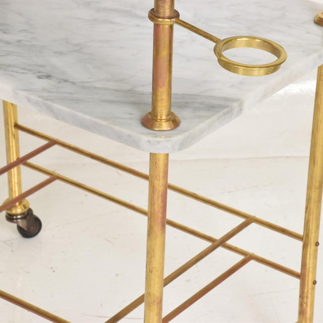 Mid Century Modern Bakery Service Table in Carrara Marble and Brass For Sale - Image 9 of 11